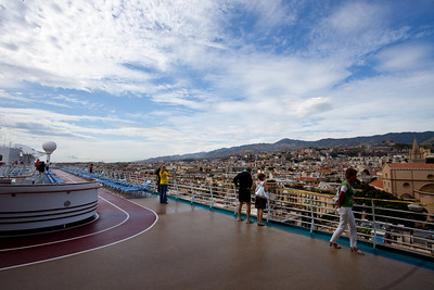 The deck of the ship after we docked in Messina.