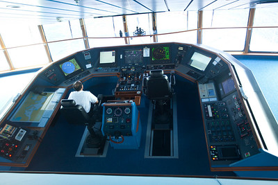 View of the control deck.  Radar, Nav for each operator as well as Comms.