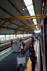 The train station at Rome Airport. It was not too far from where we landed.  The biggest problem was that one piece of luggage did not arrive and was sitting in Frankfurt.  Lufthansa assured us it would catch up by Messina.