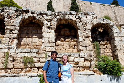 Below the Parthenon in front of the retaining wall