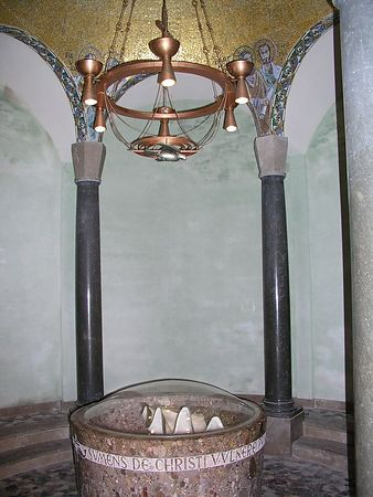 The baptismal font.