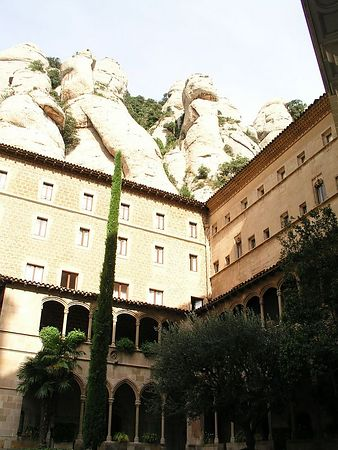 The mountain towers over the buildings