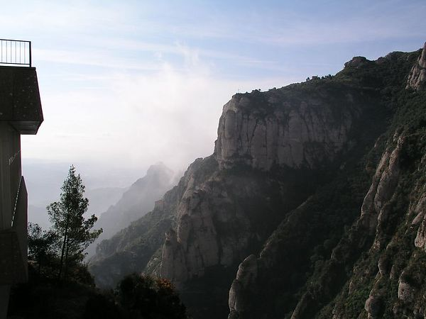 It's a long bus ride up a winding mountain road to reach the top of Montserrat. We arrived before noon and the fog was just beginning to dissipate.