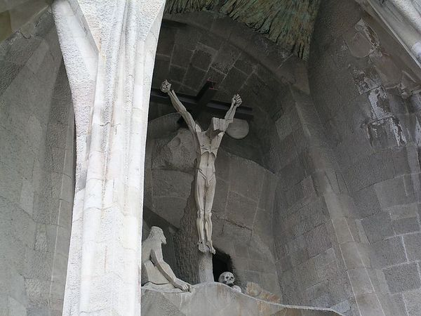 A closer look at the crucifix that adorns one of the entrances to La Sagrada Familia.