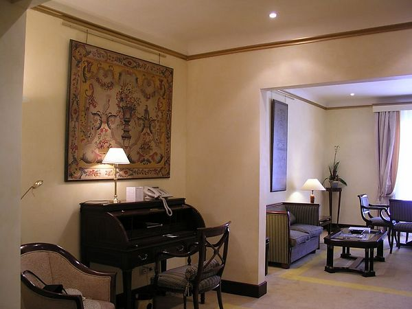 """We arrived at our hotel, the LeMeridien Barcelona. We had ordered the """"standard"""" room, but they upgraded us to a suite because the standard rooms were sold out. The windows overlooked the street, Las Ramblas. The building has double windows on the front side so it is very quiet."""