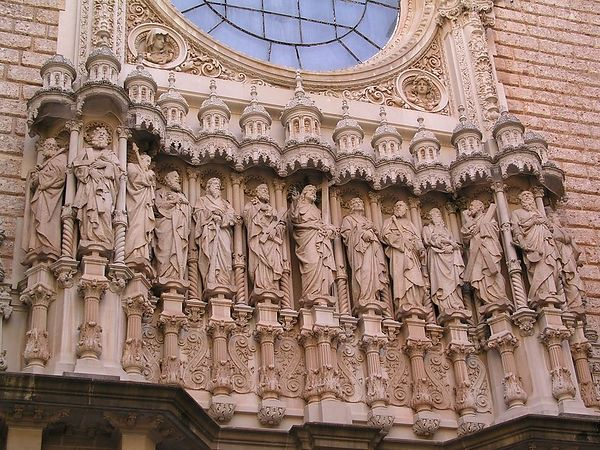 The facade of the basilica with beautiful sculptures
