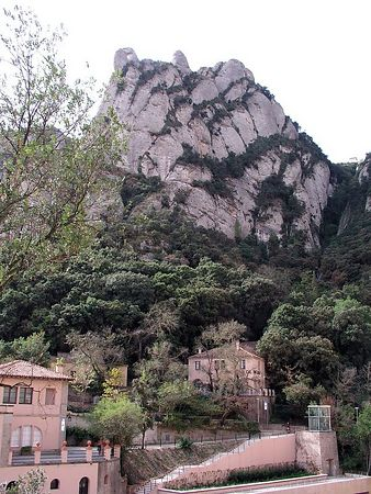 The cable railway runs just to the right side of this huge rocky peak.