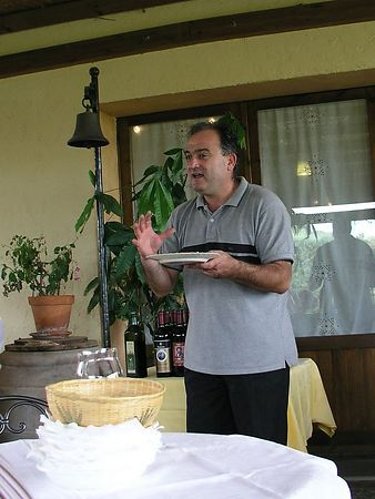 The owner is describing how wine goes with food and neither should overpower the other.