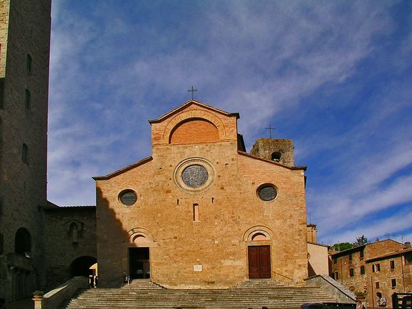 The church in the piazza in San Gimignano