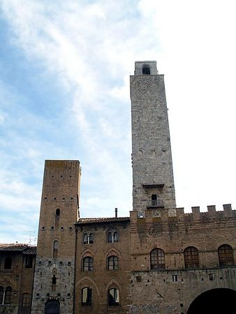 San Gimignano's town hall and two towers.