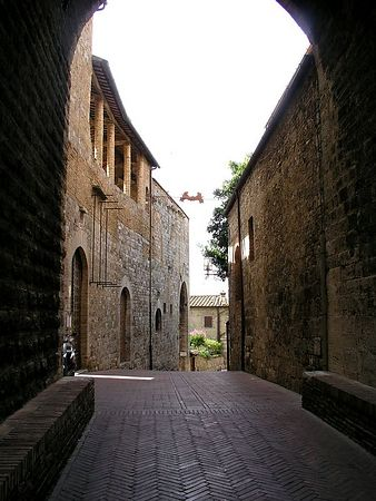 A narrow street in San Gimignano.