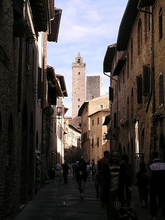 Thirteen towers dominate San Gimignano's skyline. Of the original 72 Medieval towers, only 14 remain and only one is open to the public. The town has narrow streets and a large Piazza.