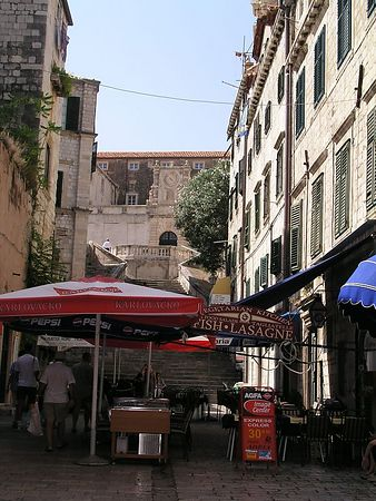 Many cafes line the narrow streets of Dubrovnik