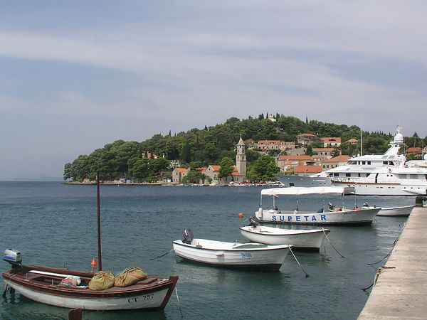 Boats tied up in the harbor at Cavtat.