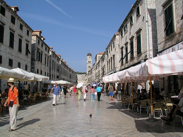 A street lined with vendors and cafes in Dubrovnik