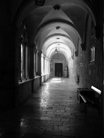 A black and white version of the hallway.