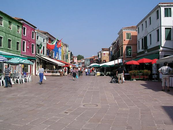 The plaza in Burano