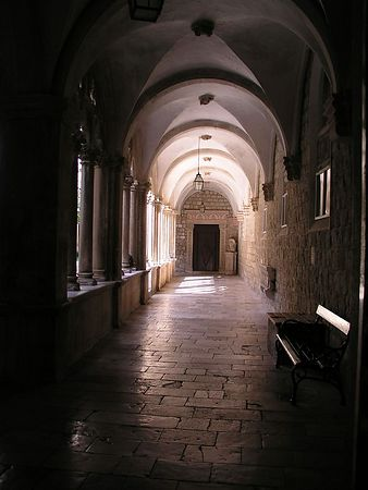 A quiet hall outside the museum area of the monastery