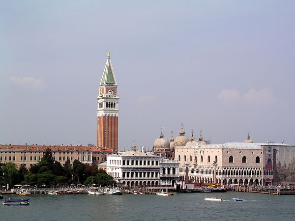 A view of the Campanile and Palazzo Ducale (Doges' Palace) from our ship as we leave Venice.