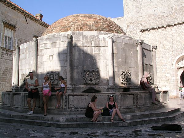 August 29 - Dubrovnik, Croatia.  A large square with a fountain.