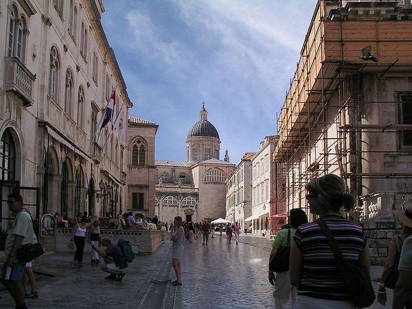 The cathedral is at the end of this street in Dubrovnik