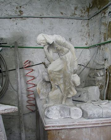 Some of the statuary at the alabaster factory near Volterra, Italy.