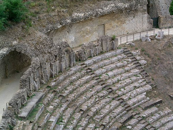 An ancient amphitheatre in the town of Voltera, Italy.