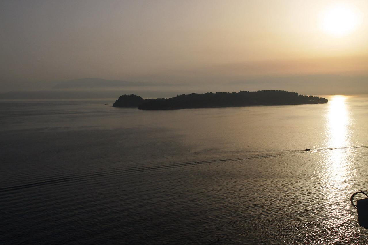 Morning Sun on Small Island off Corfu