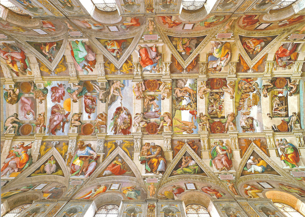 Ceiling of Sistine Chapel - Michelangelo (Postcard)