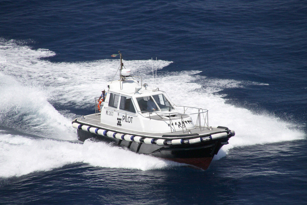 Pilot Boat Arrives to Guide Ship Through Straight of Messina