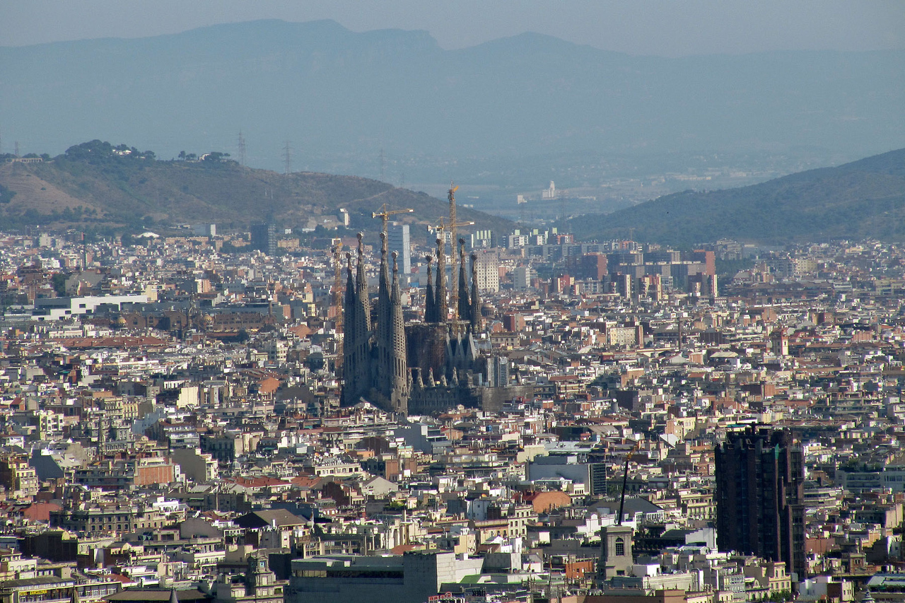 Sagrada Familia Church View from Fort Monjuic