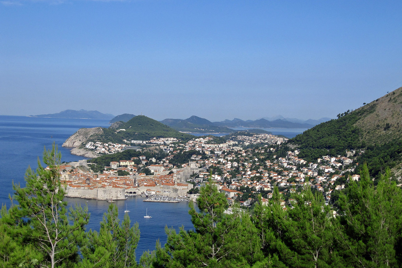 Old Walled City of Dubrovnik from Highway Overlook