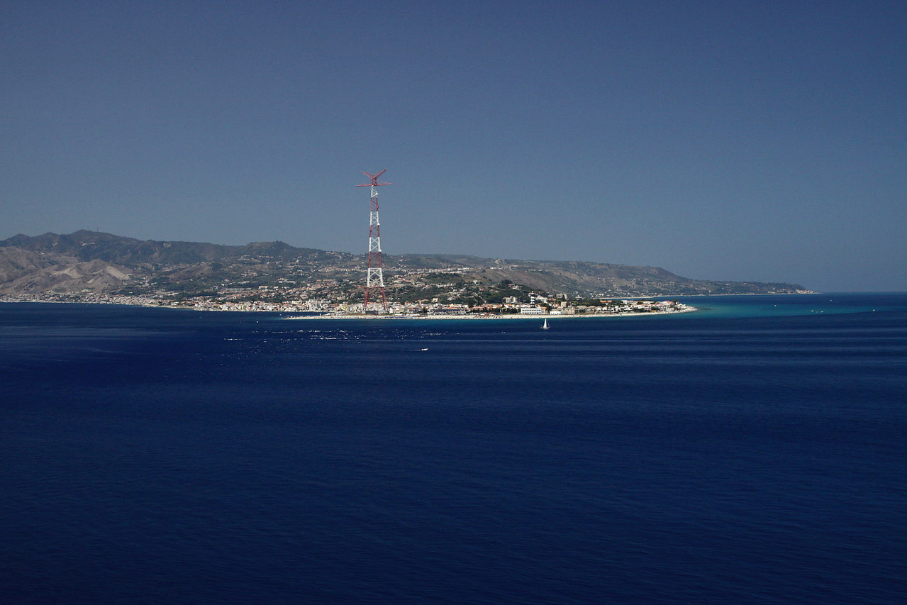Sicily on Starboard - Passing Through Straight of Messina