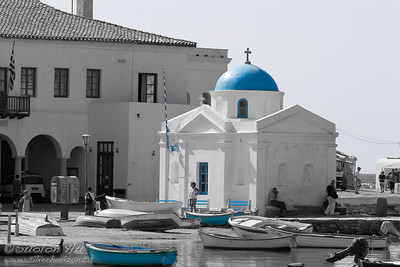 Local small church in the Village of Chora in Mykonos, Greece.