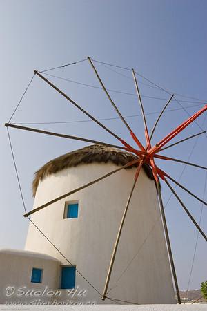 A whitewashed windmill of Chora, Mykonos, Greece
