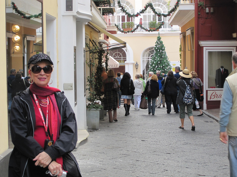 Judi Necharo, on one of the lovely streets in Capri.