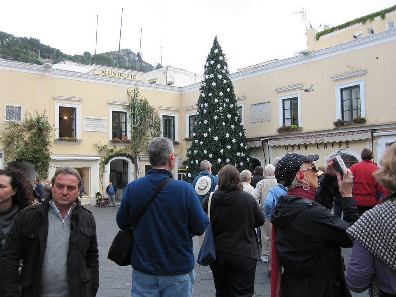 The center of Capri - the Square.  Christmas tree decorated, as it was shortly before Thanksgiving.