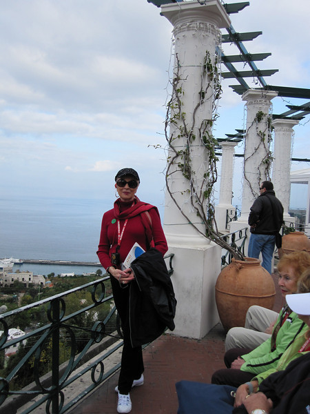 Judi, at the top of the Isle of Capri