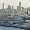 A view of the city and the cruise ship terminal building at the port of Melbourne, Australia.