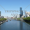 A view of the Yarra River and the city high-rise buildings in Melbourne, Australia.