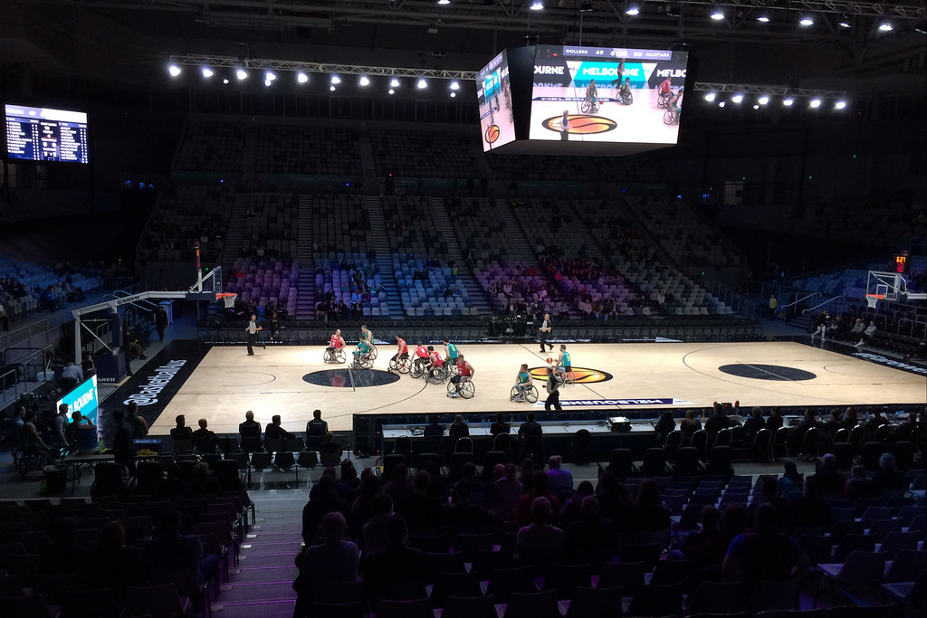 "Aussie Rollers before - The Australian Men's Basketball Team, ""The Boomers"" v the Pac12 All Stars, Game 2, Thursday 14 July 2016, Hisense Arena - Melbourne, July 2016"