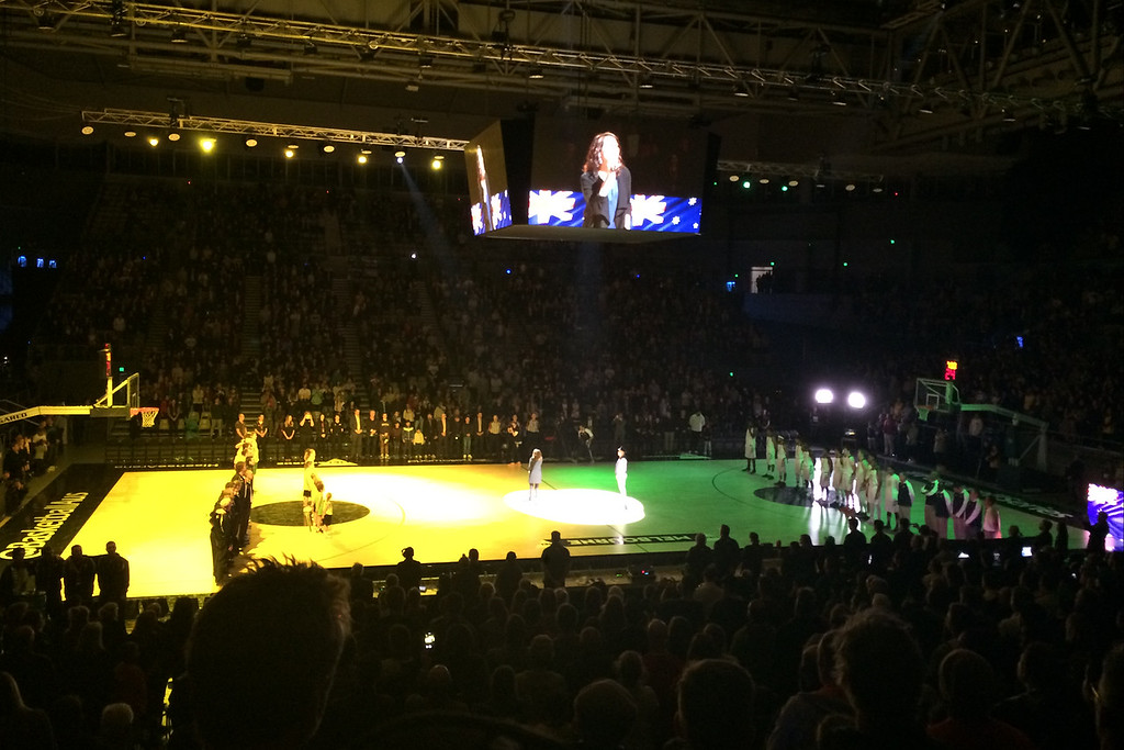 "Australian National Anthem - The Australian Men's Basketball Team, ""The Boomers"" v the Pac12 All Stars, Game 2, Thursday 14 July 2016, Hisense Arena - Melbourne, July 2016"