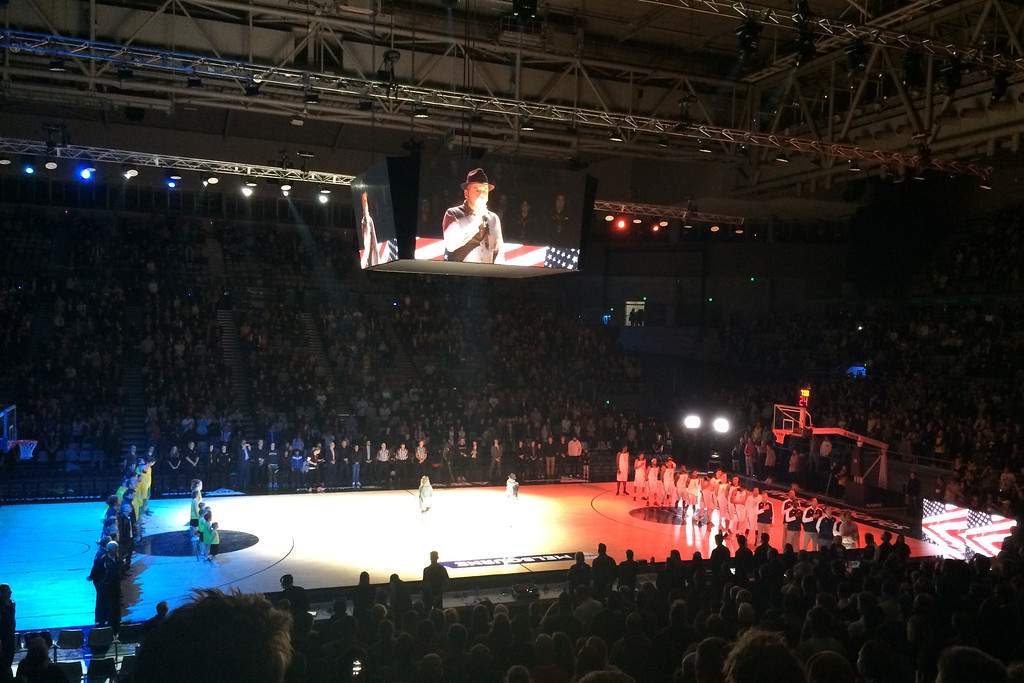 "American National Anthem - The Australian Men's Basketball Team, ""The Boomers"" v the Pac12 All Stars, Game 2, Thursday 14 July 2016, Hisense Arena - Melbourne, July 2016"