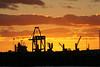 Sunset over Melbourne docks from Station Pier