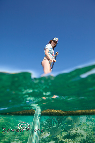 Paddling over the Coral Reefs - Katie Smith with Mellow Ventures Key West - Photo by Pat Bonish