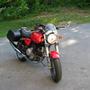 My Ducati parked in the driveway at Dennis's.