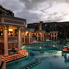The Hotel Kauai Marriott's pool is one of the most glorious I've ever seen. The great ring of a pool has five hot tubs beneath these columned pagoda structures.