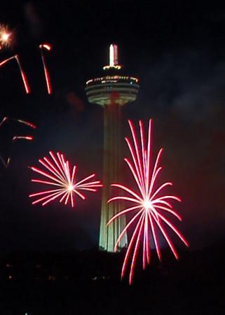 Fireworks in front of Skylon Tower