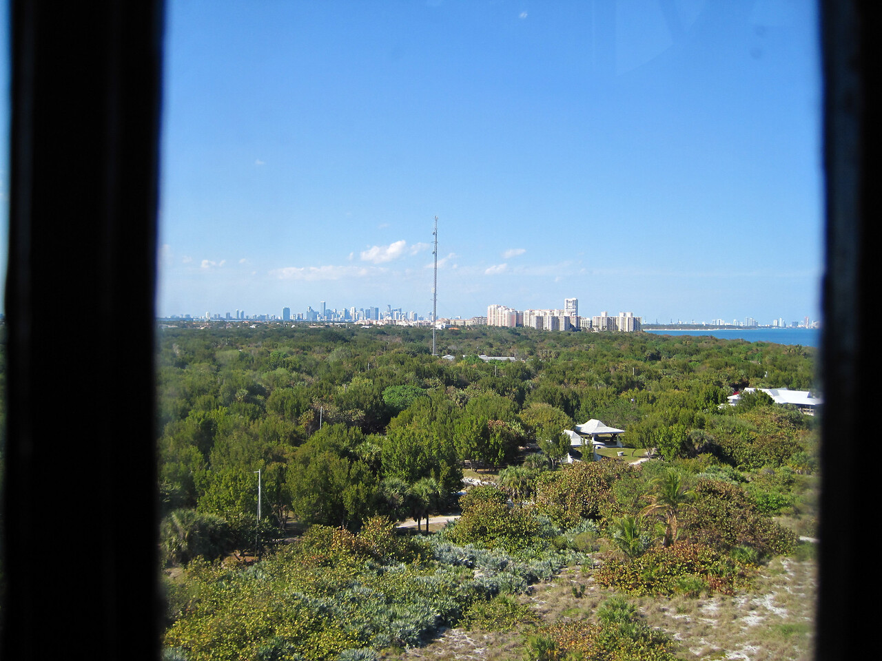 On top of the lighthouse, looking towards Miami, across the island.