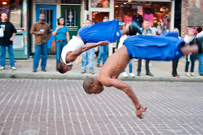 Part of a troup of acrobats who perform on Beale St.